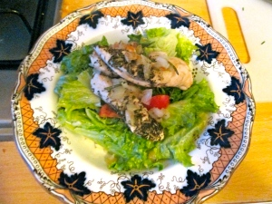 chicken topped salad