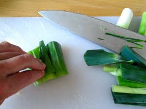 cutting leeks