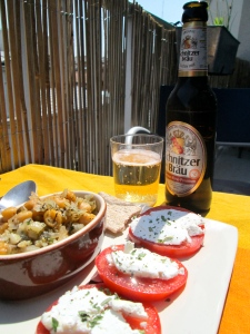 caprese and garbanzo beans with beer