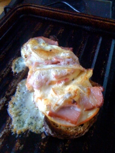 open-faced tartine, bubble child, mustard, cheese, speck, apple, gluten-free bread