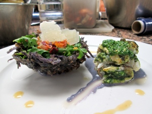 Herb Pesto Sea Bass with a Purple Potato Purée, Purple Potato Latkes Basket, and Pickled Beet Ginger Salad