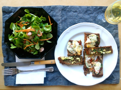 pizza bread and herb salad