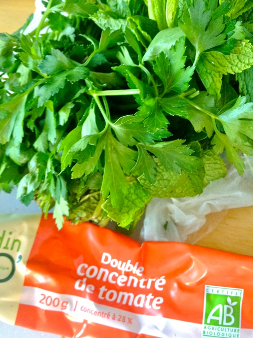 mint, parsley, and tomato paste