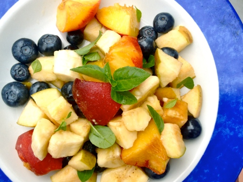 fruit salad with basil